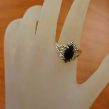 14K Yellow Gold Ring Black Onyx gemstone and Diamonds 2.00 dwt Ring Sz 7