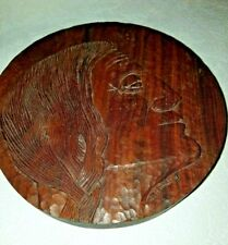 Hand CARVED  WOOD INDIAN HEAD WALL MOUNT Signed SCHMIDT '81