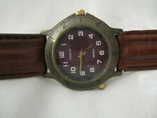 Carriage Watch, Brown Leather Buckle Band, Indiglo