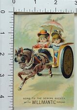 Willimantic Six Cord Thread Adorable Girls Spool-Carriage Horse Parasol F68