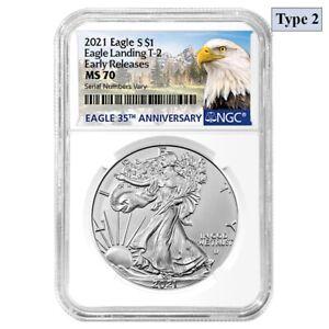 2021 1 oz Silver American Eagle Type 2 NGC MS 70 ER (Eagle Label)