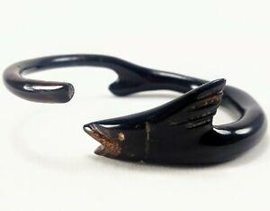 Carved Ebony Wood Glossy Polished Finish, Fish Motif Bangle Bracelet