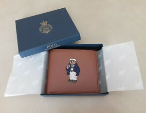 POLO BEAR RALPH LAUREN NAUTICAL SAILOR LEATHER BIFOLD WALLET TAN & BOX