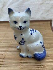 Vintage Cat Bank Hand-painted kitty 1980s retro Delft Style floral piggy bank