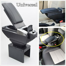 Adjustable Reinstallable black PU Leather Armrest Center Console Box Universal