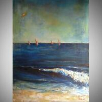 Ocean SEASCAPE Original Painting Large Surf Beach SAILBOATS 48x36 by BenWill