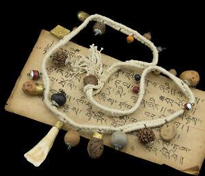 Collier Mala chapelet médecine pour chamane Bouddhisme tbetain tibet blanc 1920