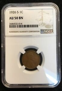 1926 S Lincoln Cent NGC AU 50 BN #
