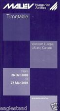 Airline Timetable - Malev Hungarian - 26/10/03 - Western Europe US Canada Ed