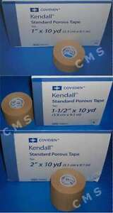 """COVIDIEN KENDALL Standard Porous Adhesive Tape Tan 1"""" 1-1/2""""2"""" x 10 Yds CURITY"""
