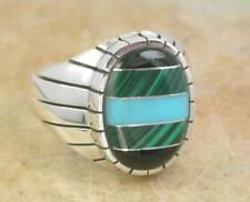 925 STERLING SILVER TURQUOISE MALACHITE ONYX RING size 9  style# r0960