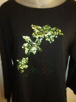 White Stag L Long Sleeve Pullover Top Sequin Beaded Palm Trees Black Shiny CHIC