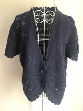 D&Co. Womens Cardigan Size 18-20 Navy Blue Linen Cotton Crochet With Buttons