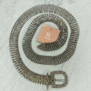 Miss Lola Rhinestone Silver Tone Belly Body Chain Link Belt Size Medium M Large