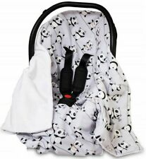 CAR SEAT BABY KIDS BLANKET REVERSIBLE WRAP PLUSH SOFT DOUBLE SIDED Panda Grey