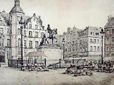 Fritz Hartmann 1878 - ebenda / Düsseldorf, Marktplatz / große Radierung handsig.
