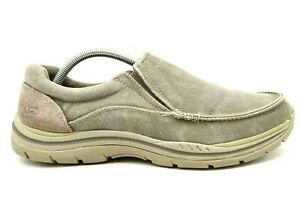 Skechers Gray Brown Canvas Relaxed Fit Casual Slip On Loafers Shoes Men's 10