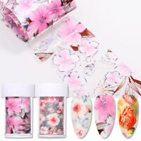 Flowers Nail Foils Wraps Colorful Holographics Nail Art Decals Transfer Stickers