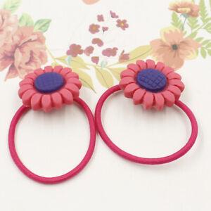 1 Pairs Cartoon Rose Red Girl Hair Rope Flower Bow Tie Elastic Princess Hairband