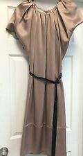 Auth Valentino  Dress Solid Pink  Silk Cockail Knee-Lenght Black Belt Italy Sz 4