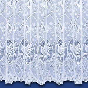 Zoe Jacquard Net Curtain - Finished In White - Preset Sizes - FREE DELIVERY