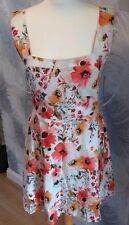 Boohoo Summer Cotton Sun Dress Cut Out Back Cream Red/Orange Floral  Size 12