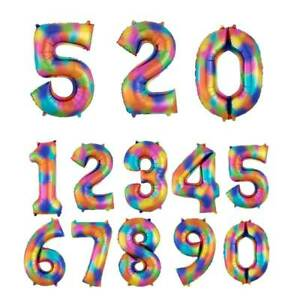 40'' Large Giant Numbers Rainbow ColorFoil Balloons Birthday Party Decor New