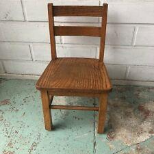 "Vtg KIDS CHILD oak Wood School Chair the back is 23"" tall great shape"