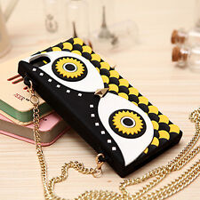 Cross Over Owl Silicone Handbag Purse case W Gold Chain Straps For iPhone 5 5S