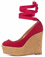 CHRISTIAN LOUBOUTIN Red Canvas Formentera Espadrille Wedges Size 38
