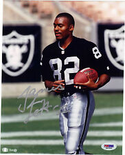 JAMES JETT AUTO SIGNED 8X10 PHOTO PSA OAKLAND L.A. RAIDERS WV MOUNTAINEERS