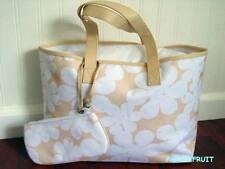 2pc Clinique White Flower Beige Cream Canvas Shopper Tote Bag w/ Wristlet Purse