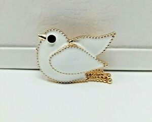 White Dove brooch enamel crystal peace bird badge vintage style pin in gift box
