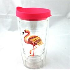Tervis Tumbler Pink Flamingo Tropical Embroidered Emblem 160z w Lid New