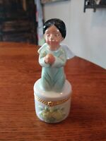 Gorgeous Vintage Porcelain Hinged Trinket Box Hispanic Angel Child Figure
