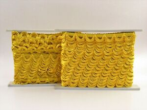 """ONE Conso Trimmings Decorative Textile Trim Spool Gold 1.25"""" x 10 Yds H048"""