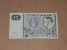 Sweden 10 Kronor Replacement Banknote 1968 P-52r1 Circulated JCcug k045
