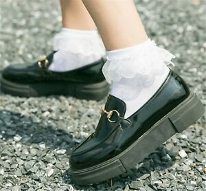Girls Children Pure White Ankle Ruffle Frilly Short Lace Dress Crew Socks 7-10Y