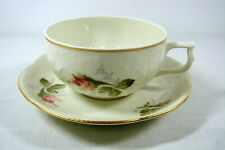 Rosenthal Classic Rose Tea Cup Teacup Saucer Ivory Gold Trim Raised Floral