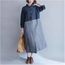 Vintage Damen Hemd Kleid Lang Locker Freizeit Bluse gestreift gespleißter