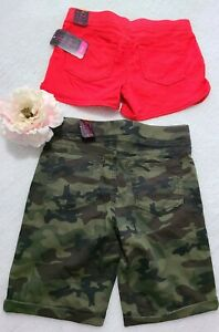 """Lot of 2 """"No Boundaries"""" Women's(Red/Camo) So Soft Summer Shorts  Size M (7-9)"""