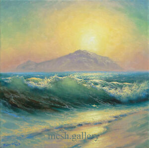 "271- 14""x 14"" GALLERY WRAP CANVAS FINE ART PRINT MESH Morning STORM SEASCAPE"