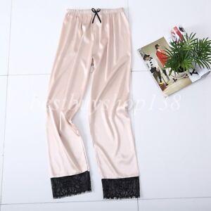 Women Satin Pajama Pants with Lace Trim Lounge Pant Sleepwear Lingerie Nightwear