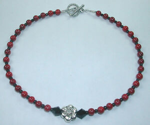 Anklet  Red  Black Beads  Flower Handcrafted Foot Ankle Fashion Jewelry