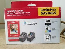 New Canon Ink Paper Combo Pack PG 40 Black CL 41 Color 4x6 Glossy Photo Paper