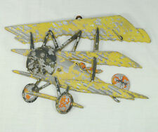1975 Homco Cast Metal Well Worn Distressed Yellow Wwi Bi-Plane Wall Hanging