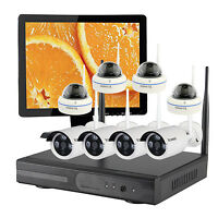 8CH Indoor Outdoor Wireless Home Security CCTV Camera System Hard drive Monitor