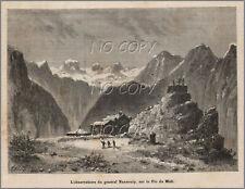 1879 : ILLUSTRATION / GRAVURE : OBSERVATOIRE du GéNéRAL NANSOUTY PIC du MIDI