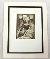 1927 Antico Stampa Olandese Vecchio Master Dolore Madonna e Bambino Hans Memling