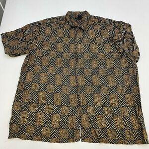 J. Ferrar Button Up Shirt Men's 2XL XXL Short Sleeve Black Brown Herringbone